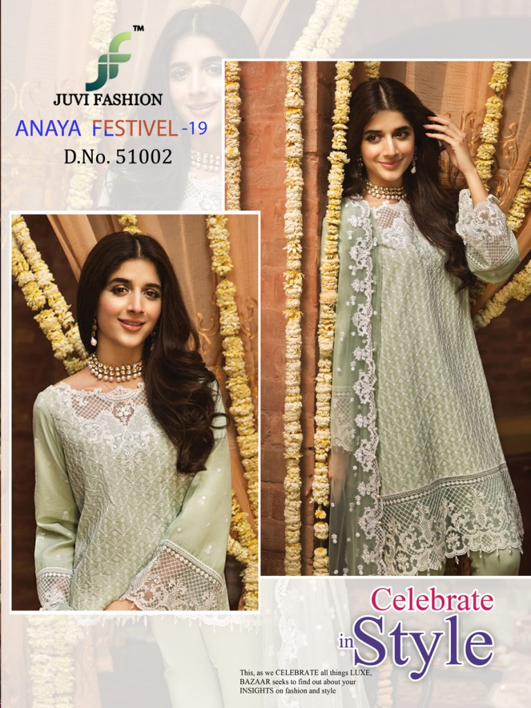Juvi fashion anaya festival 19 lucknavi work georgette pakistani salwar Wholesaler