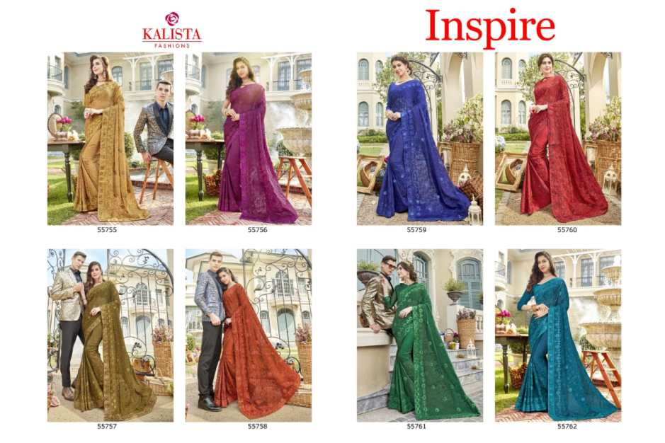 kalista fashion inspire beautiful colours fancy sarees catalog
