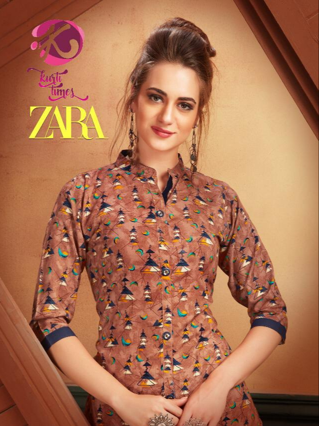 Kurti times zara beautiful a-line rayon printed kurties