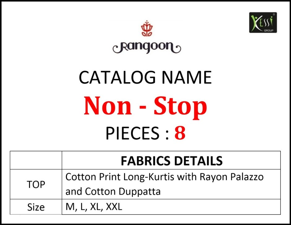 Rangoon non stop long printed rayon kurti and plazzo wholsaler Online