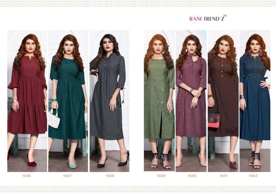 Rani trendz top model 5 cotton slub Fashionable kurties catalog