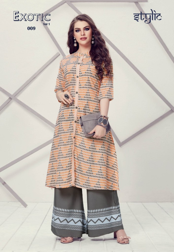 Stylic exotic vol 1 fancy kurti with plazzo collection at wholesale rate