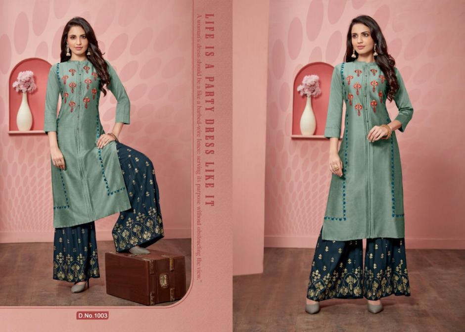 Sweety fashion victoria printed kurties with plazzo bottom collection