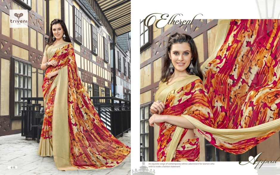 triveni ambreen colourful party wear sarees exporter online