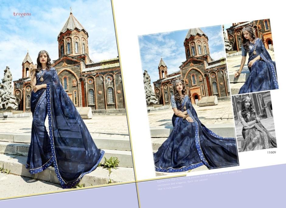 Triveni chhavi beautiful designer indian sarees collection at wholesale rate online dealer