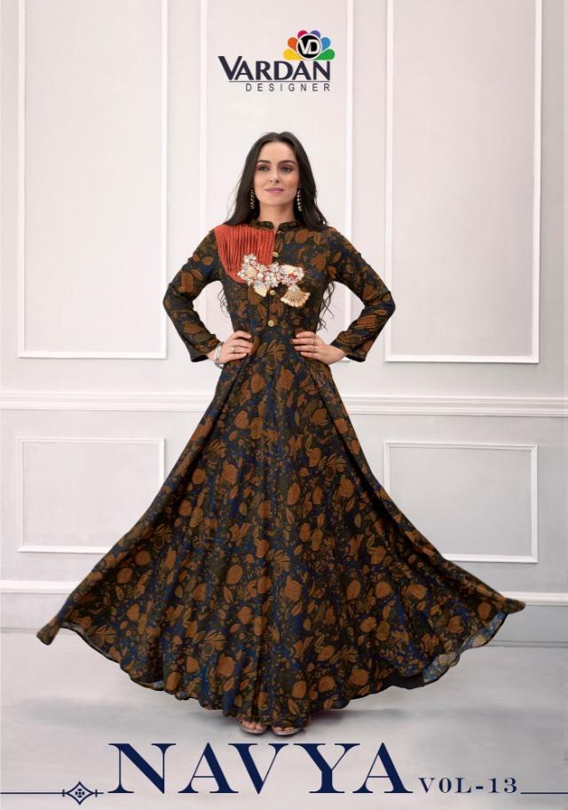 Vardan navya vol 13 rayon printed long gown style kurtis collection