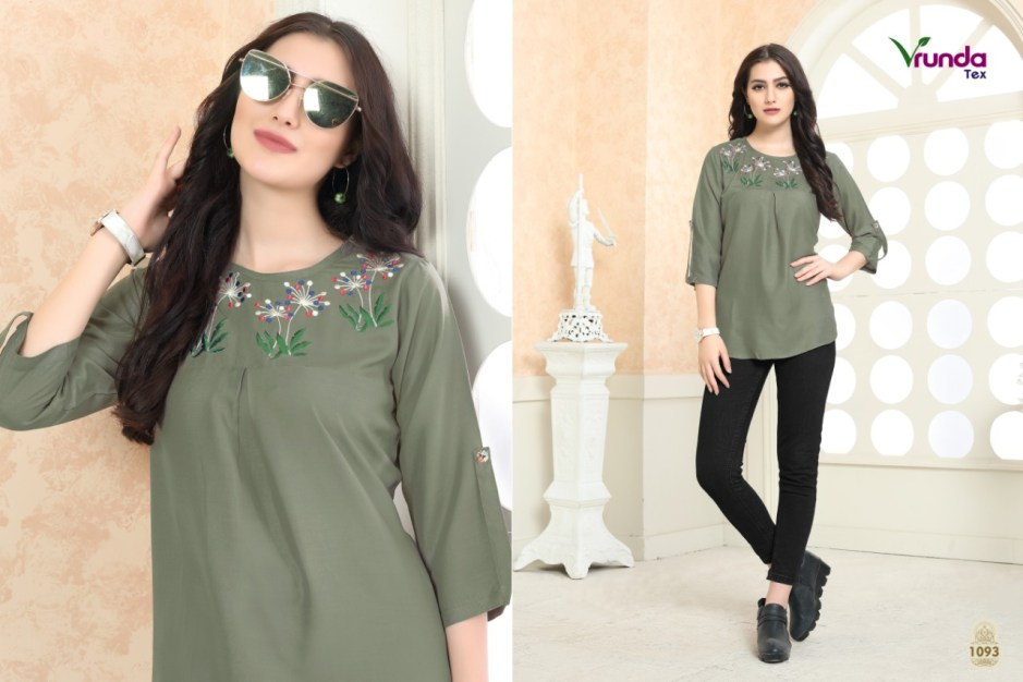 Vrunda tex rajvi rayon casual wear fancy tops collection
