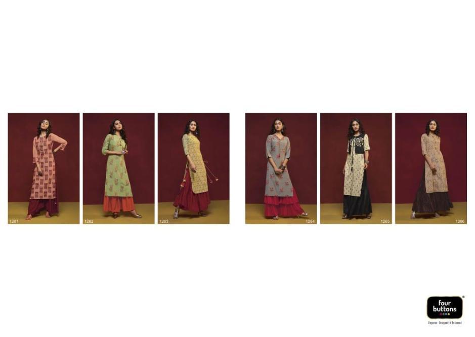 Four buttons crimson designer kurti with sharara collection