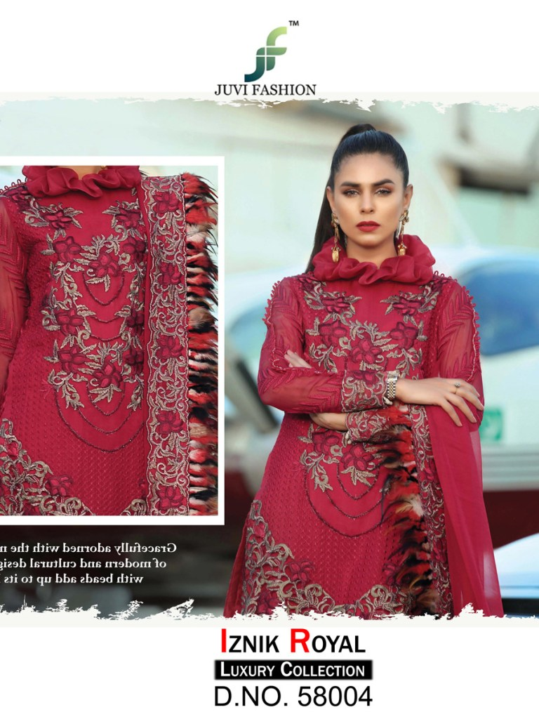 Juvi fashion iznik royal luxury Collection karachi embroidered dress Material