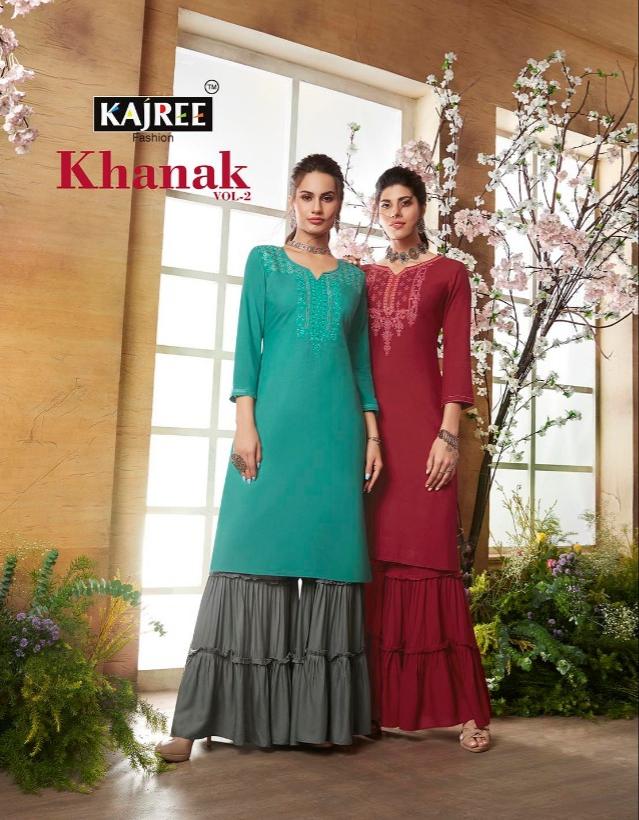 Kajree fashion khanak vol 2 kurti with sharara catalog