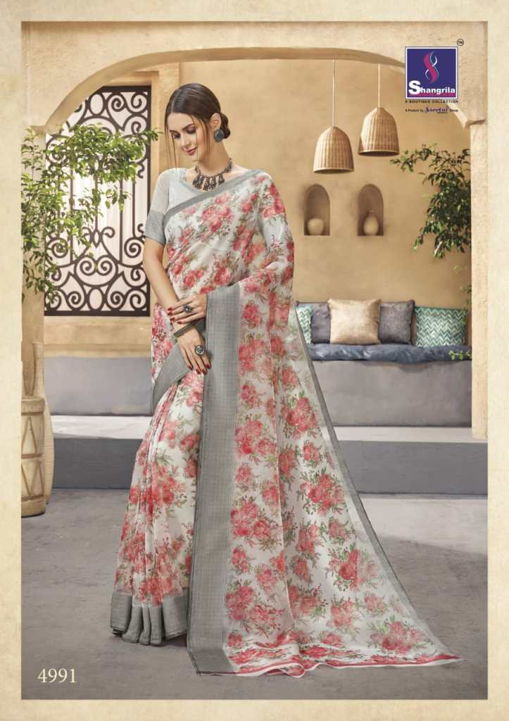 Shangrila pure orgenza vol 2 floral printed sarees collection