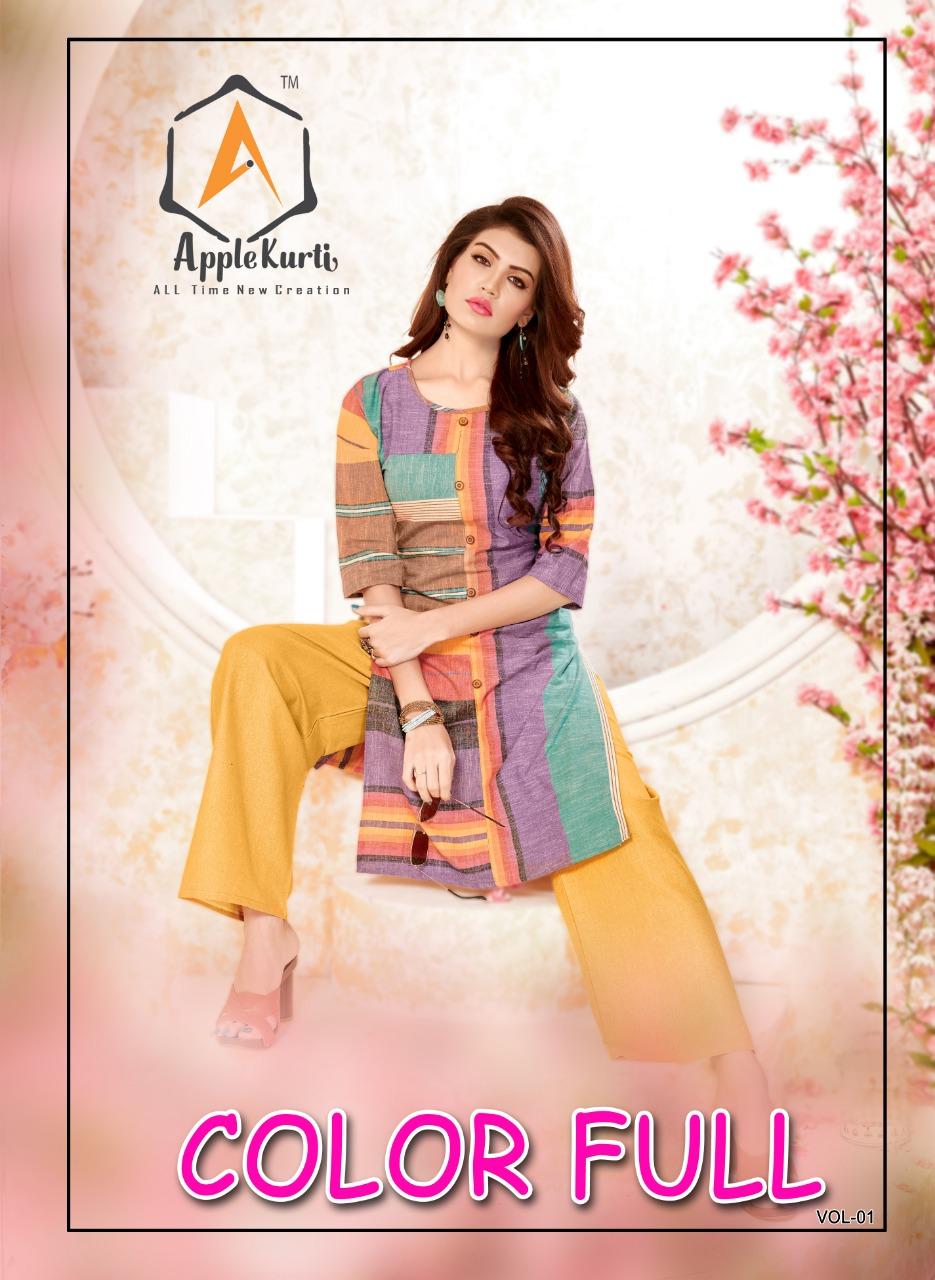 Apple colourful vol 1 kurti with plazzo catalog