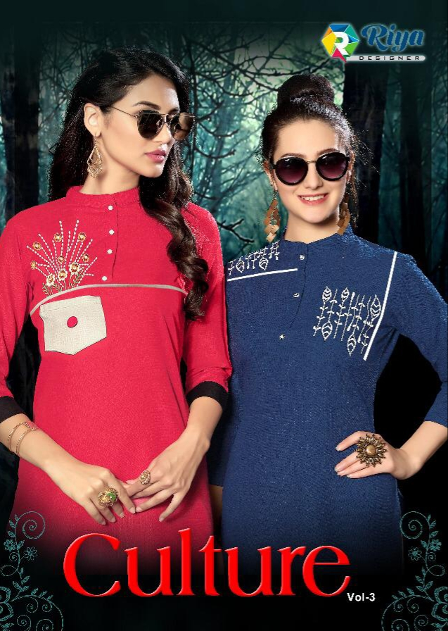 Riya designer culture vol 3 hand work straight kurties collection