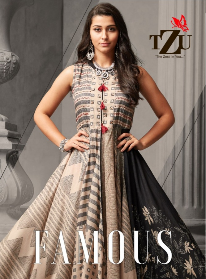 Tzu lifestyle famous muslin silk long anarkali gowns collection