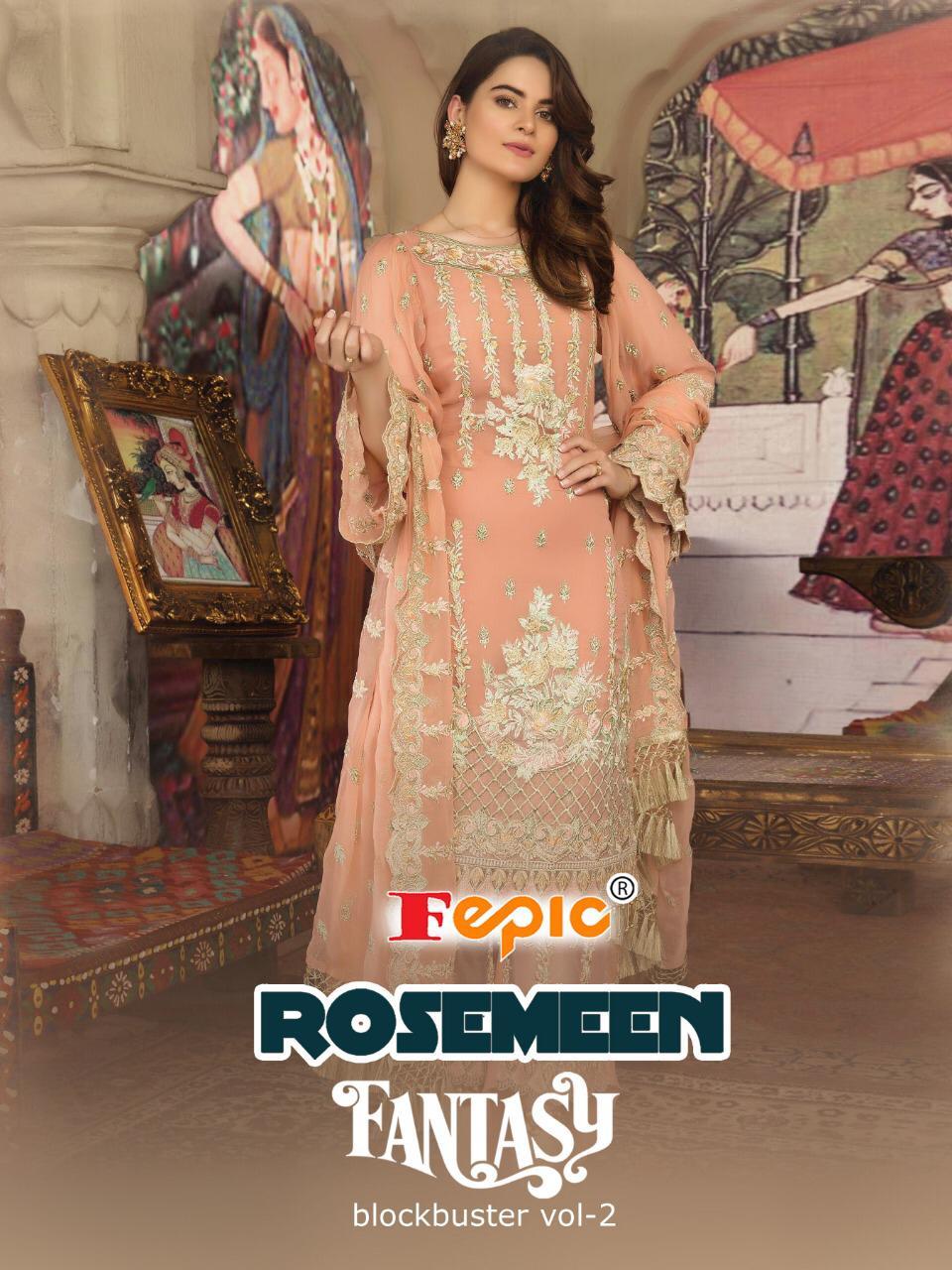 Fepic rosemeen fantasy Blockbuster vol 2 designer embroidered pakistani style dress Material dealer