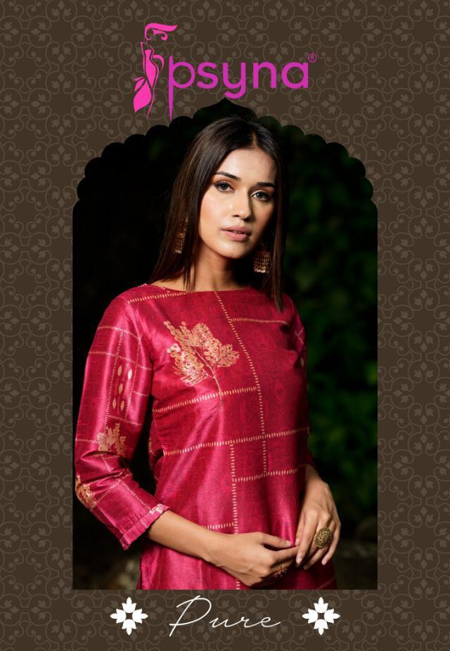 Psyna pure digital printed silk straight kurties festive wear collection