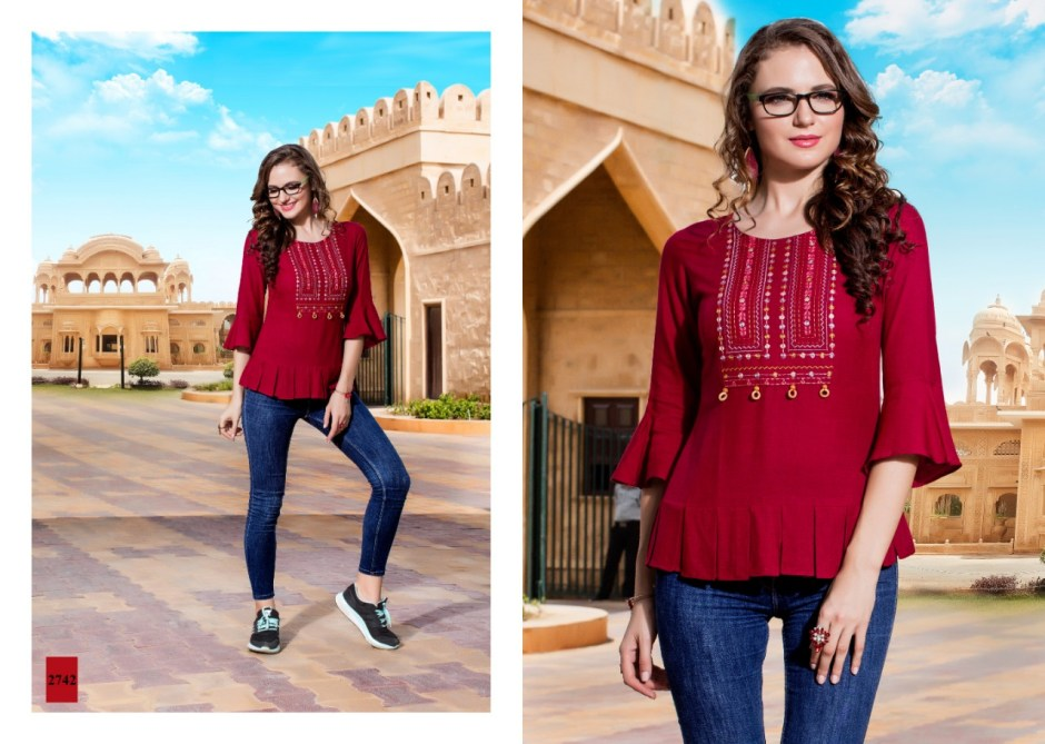 Yami fashion topsy vol 7 rayon embroidered short tops collection
