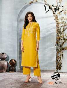 100 MILES - DELIGHT KURTI WITH COMBO BOTTOM