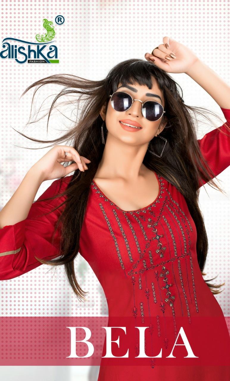 Alishka Fashion Bela classic trendy look rayon Embroided Kurties