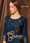 feminista grace 2 rayon elegant style kurti with pant catalog