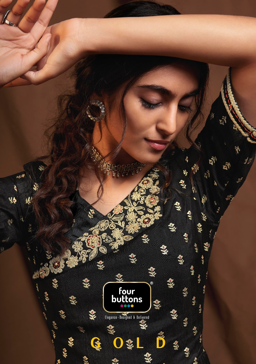 four buttons gold stunning classy catchy look wedding collection kurties in wholesale