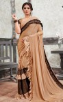 Saroj mirror look imported Lycra frill saree with Banglori silk blouse