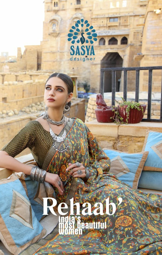Sasya Designer reehab astonishing style beautifully designed brasso fabric with silk Jacquard border Sarees