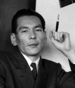 Tamura Ryuichi in 1956 (age 33), at the publication party for his first collection, Four Thousand Days and Nights