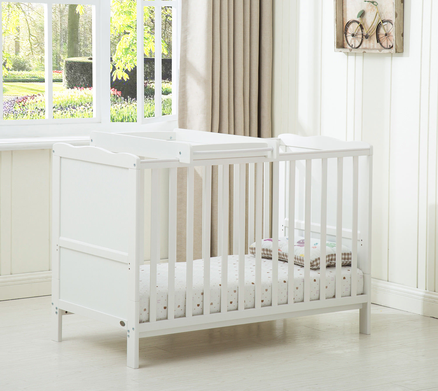 NEW WHITE SOLID WOOD BABY COT BED with TOP CHANGER AND