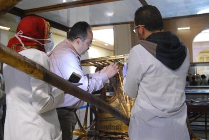 Checking the Condition of tut's chariot