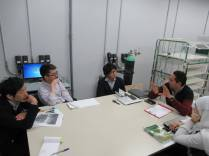 Japanese team discussing with the Egyptian team about the work plan
