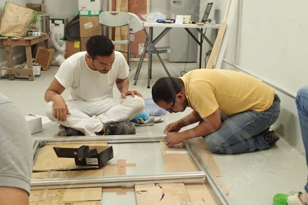 Mr. Hashizume and Mr. Mostafa from wall-painting team making the base for the wall-paintings