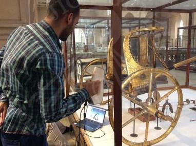 Scanning Tutankhamen's chariot in Egyptian Museum