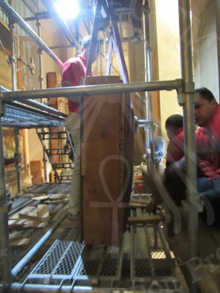Conservators prepare to pack the Wall Paintings before Transportation