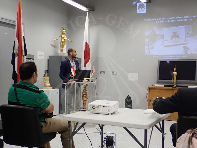 Mr Ahmed Abd Rabo giving a lecture about the documentation and diagnostic analysis processes of the GEMJC project
