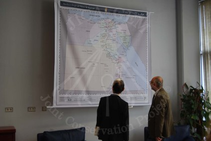Dr Tarek showing his Excellency the Egyptian map with all of its monumental areas