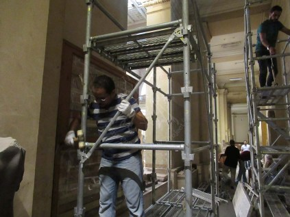 The Egyptian Mural Painting team working on building the scaffolds at the Egyptian Museum in Tahrir, Cairo