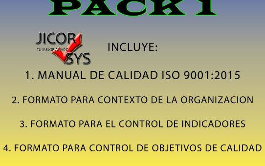 Manual Calidad ISO 9001:2015 y 3 formatos (Pack 1)
