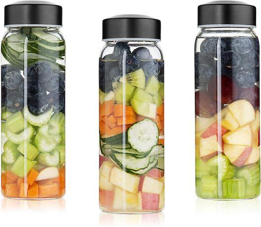 Wide Mouth Borosilicate Bottle Set for Smoothies, Reusable Dishwasher safe