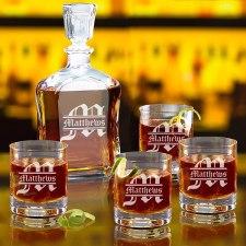 5 Pcs Personslized whiskey decanter set