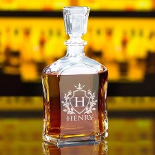 Custom Engraved Liquor Decanter, Glass Whiskey, Personalized with Shield Design