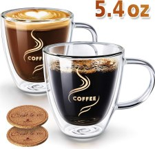 Double Walled Anti-scalding with Coasters Insulated Espresso Cups Cappuccino Clear Mugs