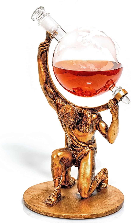 Globe shaped Liquor Decanter as gift for men, women, couple and retirement