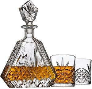 Irish cut triangle whiskey decanter set with two glasses