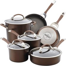 Aluminum non-stick cookware set for all cooktops including electric and induction stove tops.