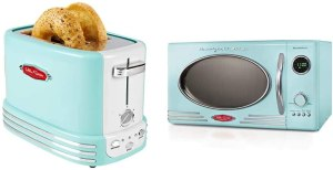 Nostalgia Aqua Microwave and toaster Bundle