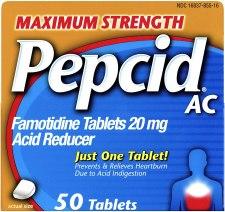 Pepcid heartburn medication tablet for prevention of heartburn and acid reflux