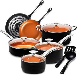 Michelangelo pots and pans non stick copper cookware set for ceramic hob