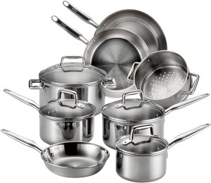 Tri-ply Tefal stainless steel cookware set for gas, electric, induction and ceramic hob stove tops.
