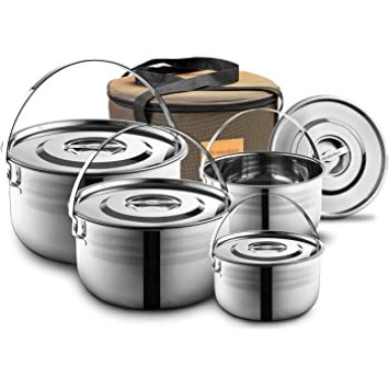 Open fire cookware for camping